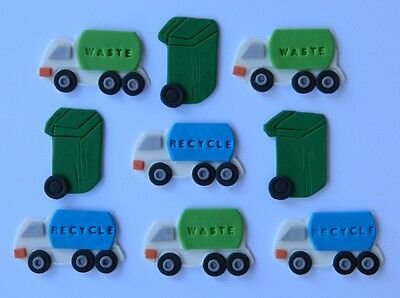 12 edible GARBAGE TRUCK BIN RECYCLE cake decoration topper WEDDING birthday
