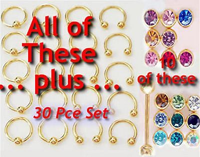 30 pce Kit GOLD PL.Wholesale Body Jewellery Mix Gems CBB CBR Tongue Ear Eyebrow*