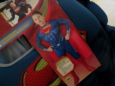 6ac23961ebf52 Man of Steel SUPERMAN Child COSTUME M 8-10 Muscle Jumpsuit Boot Tops   Cape