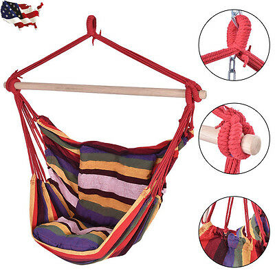 4 Colors Deluxe Hammock Rope Chair Porch Yard Tree Hanging Air Swing Outdoor New