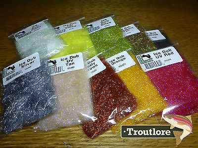 10 Pack Ice Dub Combo Colours Hareline Dubbin - New Fly Tying Dubbing Supplies