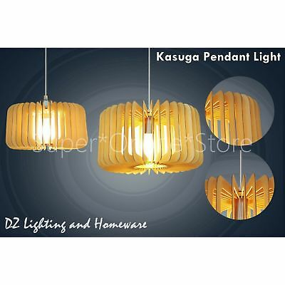 KASUGA Wooden Modern Home Restaurant Cafe Ceiling Pendant Lighting Lamp 2 Sizes