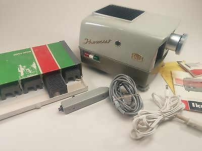1960's Zeiss Ikon Ikomat Film Slide Projector Viewer, w/ 5 Cartridges and Remote