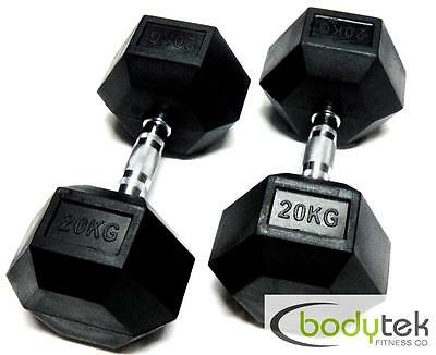 2 x 20Kg Hex Dumbbells Body Building Exercise Gym Bar Training Weights Fitness