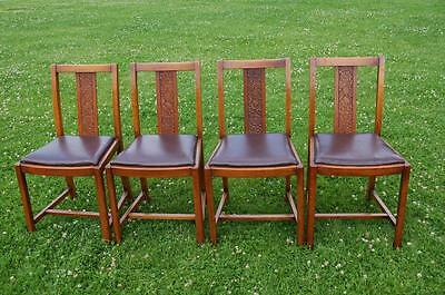 Set of Four Vintage Dining Chairs - Carved Back Panel