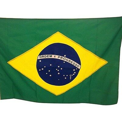 BRAZIL BRAZILIAN NATIONAL COUNTRY 5 x 3FT FANS SUPPORTERS FLAG BANNER EYELET NEW