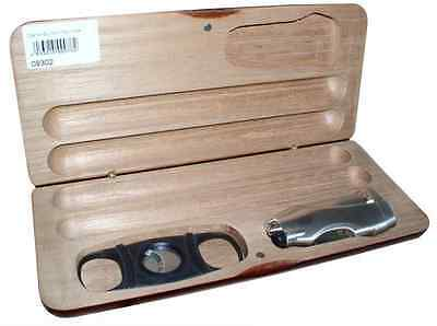Brown Wooden 2 Finger Cigar Case With Double Guillotine Cutter And Lighter Set