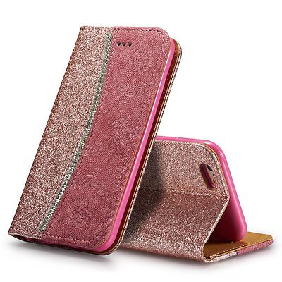 Shockproof wallet case Crystal diamond Leather cover For Samsung Galaxy Models