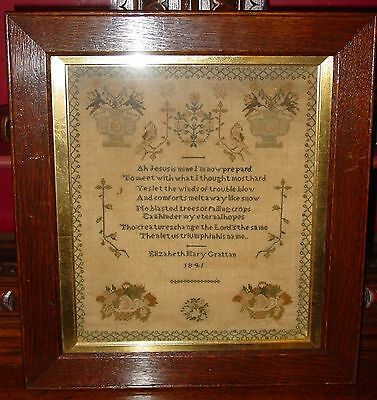Antique Sampler by Elizabeth Mary Grattan---1841----14933