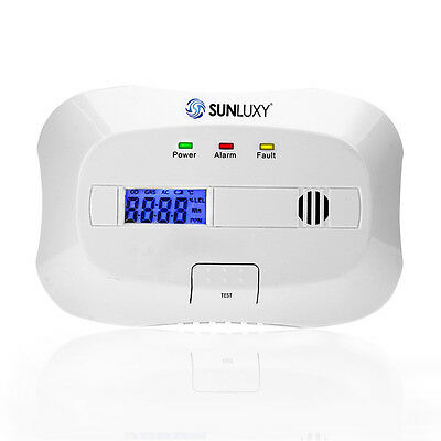 SUNLUXY LCD Display CO Gas Monitor Carbon-Monoxide Detector  Alarm System Sensor