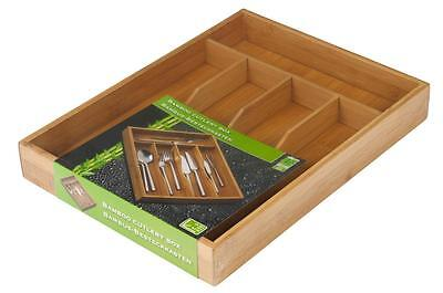 Bamboo Cutlery Box Wood Kitchen Drawer Utensil Storage Container Tray New