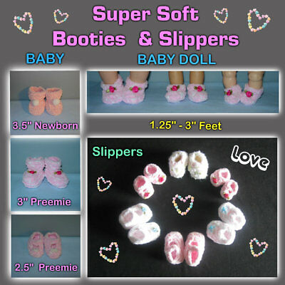 Super Soft BOOTIES & SLIPPERS in Doll or BABY Sizes Handmade the Crafty Grandmas