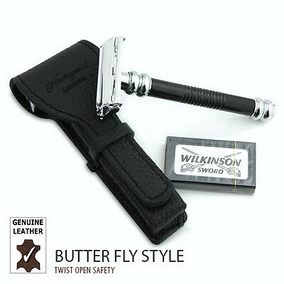 DE safety / double edge Shaving razor with Leather Protective / Travel Case New
