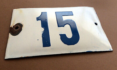 VINTAGE ENAMEL SIGN TIN PORCELAIN HOUSE NUMBER 15 DOOR GATE WHITE BLUE 1950's