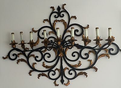 Vintage, French, Hand Wrought Iron 9 Light Sconce with Gold Leaf Acanthus Leaves