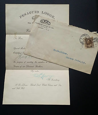 Beautiful 1921 VINTAGE Letter Pesaquid Lodge IOOF Lodge Windsor NS