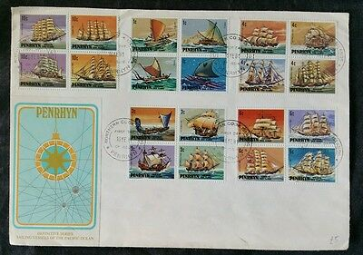 Penrhyn First Day Cover, Sailing Vessels Of The Pacific Islands, 1981, Full Set