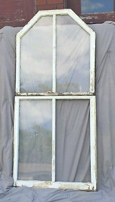 Antique Double Hung Arch Dome Top Window 2 Piece Old Shabby Rhombus Chic 1170-16