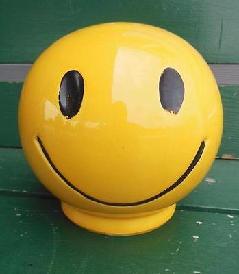 Vintage Pottery Yellow Smile Smiley Happy Face Money Coin Piggy Bank + Stopper