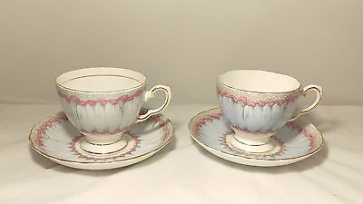 Tuscan Plant Pair of Cup and Saucers Hand Painted