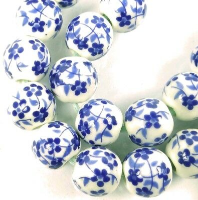8mm Floral Blue White Porcelain Round Beads (20)