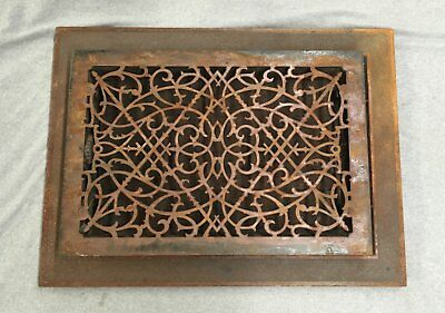 Antique Cast Iron Heat Grate Vent Register Surround Old Vtg Hardware 1173-16