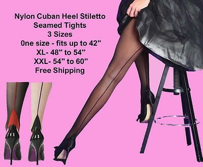 NYLON CUBAN HEEL Lace Top Hold up Stiletto Seamed Stockings