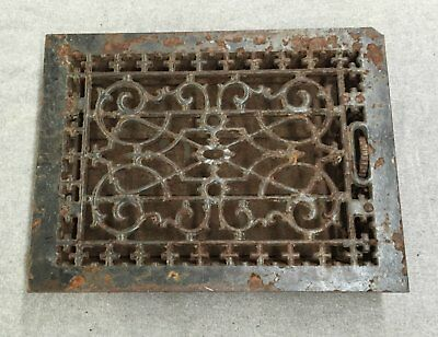 Antique Cast Iron Heat Grate Vent Register Old Vtg Hardware 10x14 1177-16