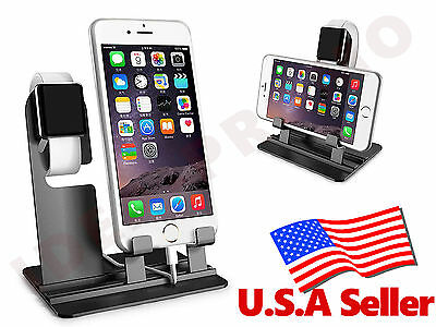 Stainless Steel Charging Stand Holder Docking Station for Apple Watch iPhone -BK