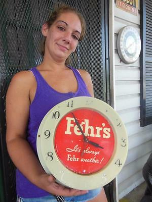 1950's Fehr's Beer Lighted Clock Sign Liquor Store Bar Tavern Pub Grille  Works