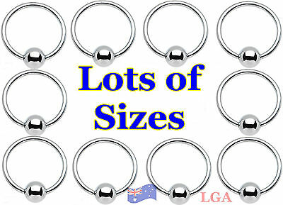 CAPTIVE Bead Ring CBR Rings 316L STEEL pierced Nose Eyebrow Belly Ear MANY SIZES