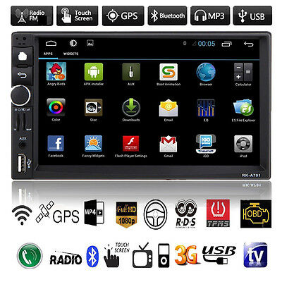 "Android Double 2Din 7"" Car GPS Nav Bluetooth Stereo MP3 MP5 Player USB FM Radio"