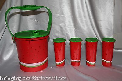 Tupperware Watermelon Jumbo Canister with Handle Pourspout & 4 16oz Tumblers New