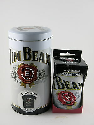 Jim Beam T Shirt in a Tin 2 XL Size plus Stubbie Cooler Fathers Day Gift