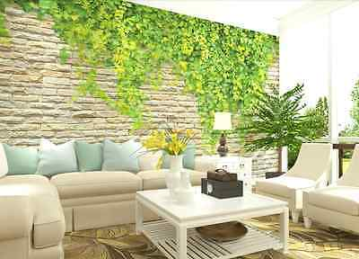 3D Stonewall Vines Wall Paper Wall Print Decal Wall Deco Indoor wall Mural Home