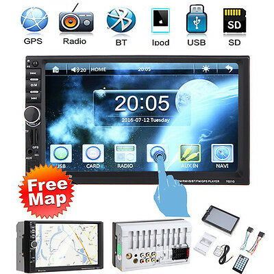 "7"" 2DIN Car Stereo MP3 Player GPS Navigation Bluetooth Touch USB/TF/FM/AUX + Map"