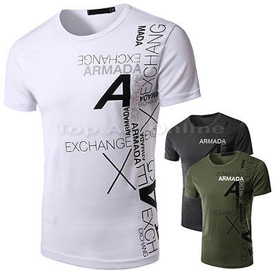 Stylish Men's Slim Fit Muscle O-Neck Tee Tops Shirt Casual Short Sleeve T-Shirts