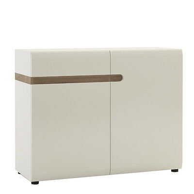 Avieka White Gloss Small 1 Drawer 2 Door Sideboard Cupboard 110cm 42cm 87cm