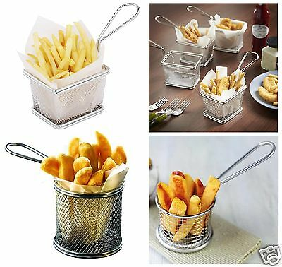 Stainless Steel Mini Chips Fries Serving Basket Food Fryers Potato Wedges Holder