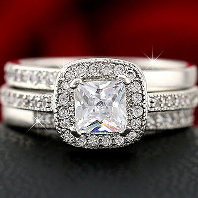 9K 9Ct Gold Gf Vintage Square Lab Diamond Lady Solid Engagement Wedding Ring Set