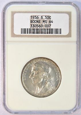 1936 S US 50C Boone Silver Commemorative Half Dollar Coin (NGC MS 64) LV#72