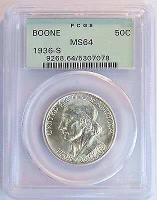 1936 S US 50C Boone Silver 1/2 Dollar Comm Coin OGH PCGS MS 64 BLAST WHITE LV85