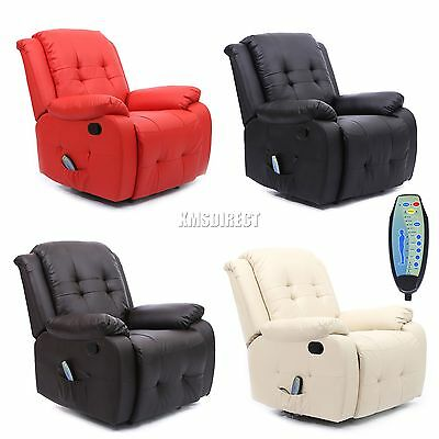FoxHunter Leather Massage Cinema Recliner Chair Sofa Armchair Heating MLS-07 New