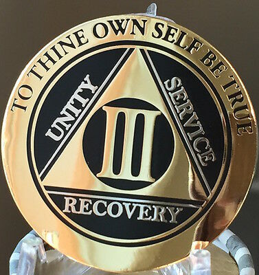 3 Year AA Medallion Black Gold Plated Bi-Plate Alcoholics Anonymous Chip Coin