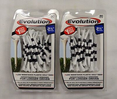 "Pride Evolution Golf Tees 3 1/4"" - White with Stripe - 2 Packs of 30 - (11807)"