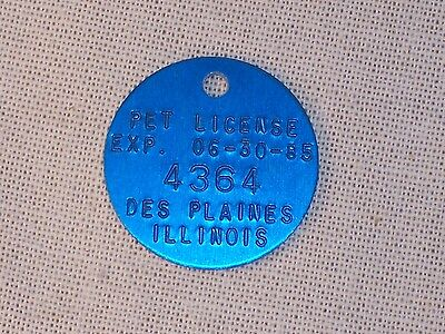 Vintage City of Des Plaines IL Pet License No #4364 blue circle ex 06-30-85 XT17