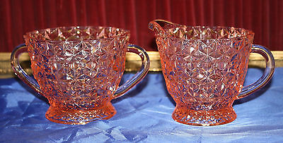 PINK DEPRESSION GLASS SET CREAMER & SUGAR BOWL Jeannette Holiday Button and Bows