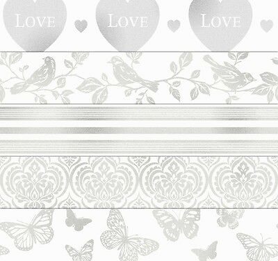 Sparkle White/silver Glitter Wallpaper Borders Choices Of 5