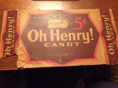 Vintage OH HENRY 5 cent Candy Bar Part Of Box Chicago IL