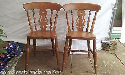 Reclaimed Pair Of Beech Fiddle Back Farmhouse Kitchen Chairs